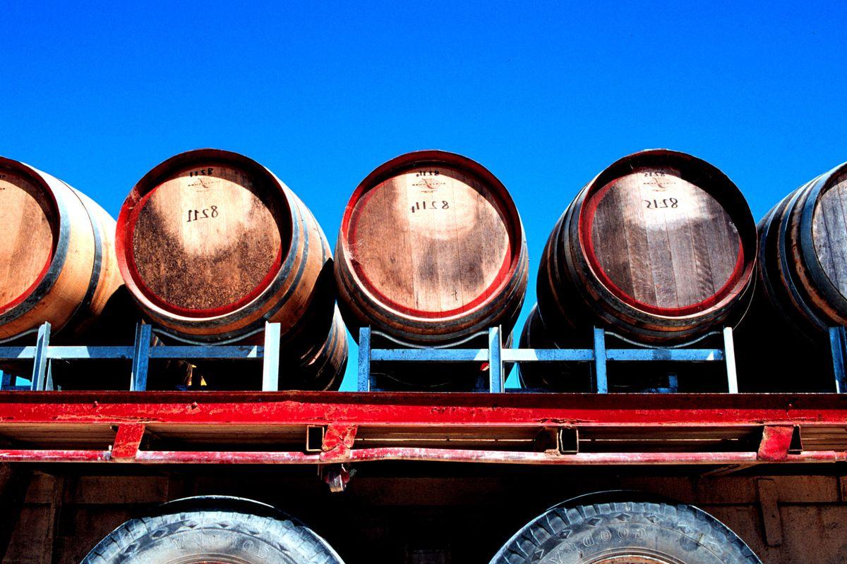 Wine barrels on truck