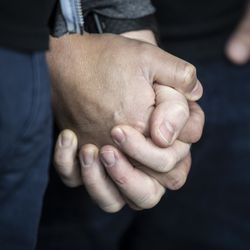 Matt Schreck, 43, and his husband, Fernando Gutierrez, 41, hold hands as they watch the inauguration ceremony for President Joe Biden and Vice President Kamala Harris from their South Loop home, Wednesday morning, Jan. 20, 2021.