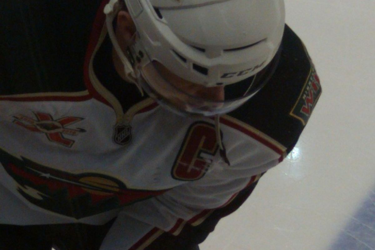 A shot of Wild captain Mikko Koivu I took during warm-up (Monica McAlister)