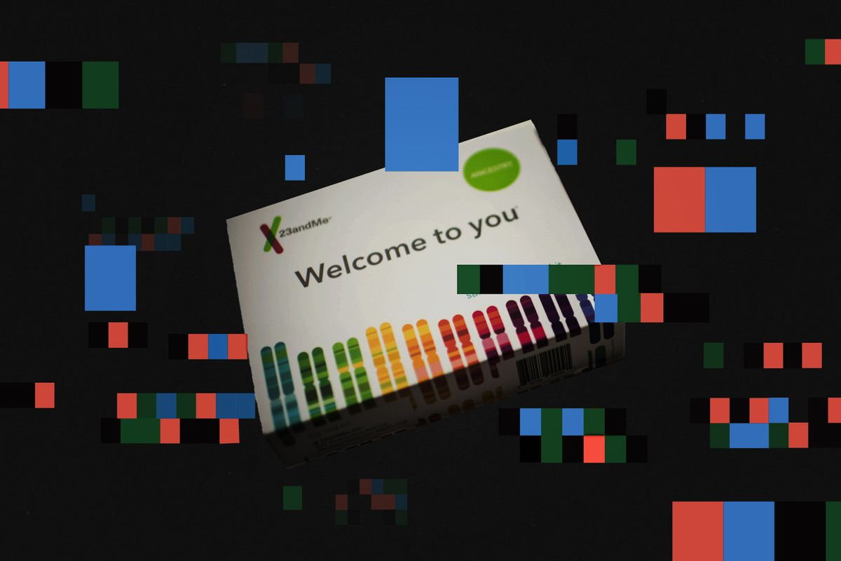 An illustration of a genetic testing kit and colored squares.