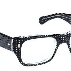 """<strong>Cutler and Gross</strong> 0692 in Black on Crystal Perforated, <a href=""""http://www.cutlerandgross.com/shop/Opticals/0692-Black-on-Crystal-Perforated/"""">$495</a>"""