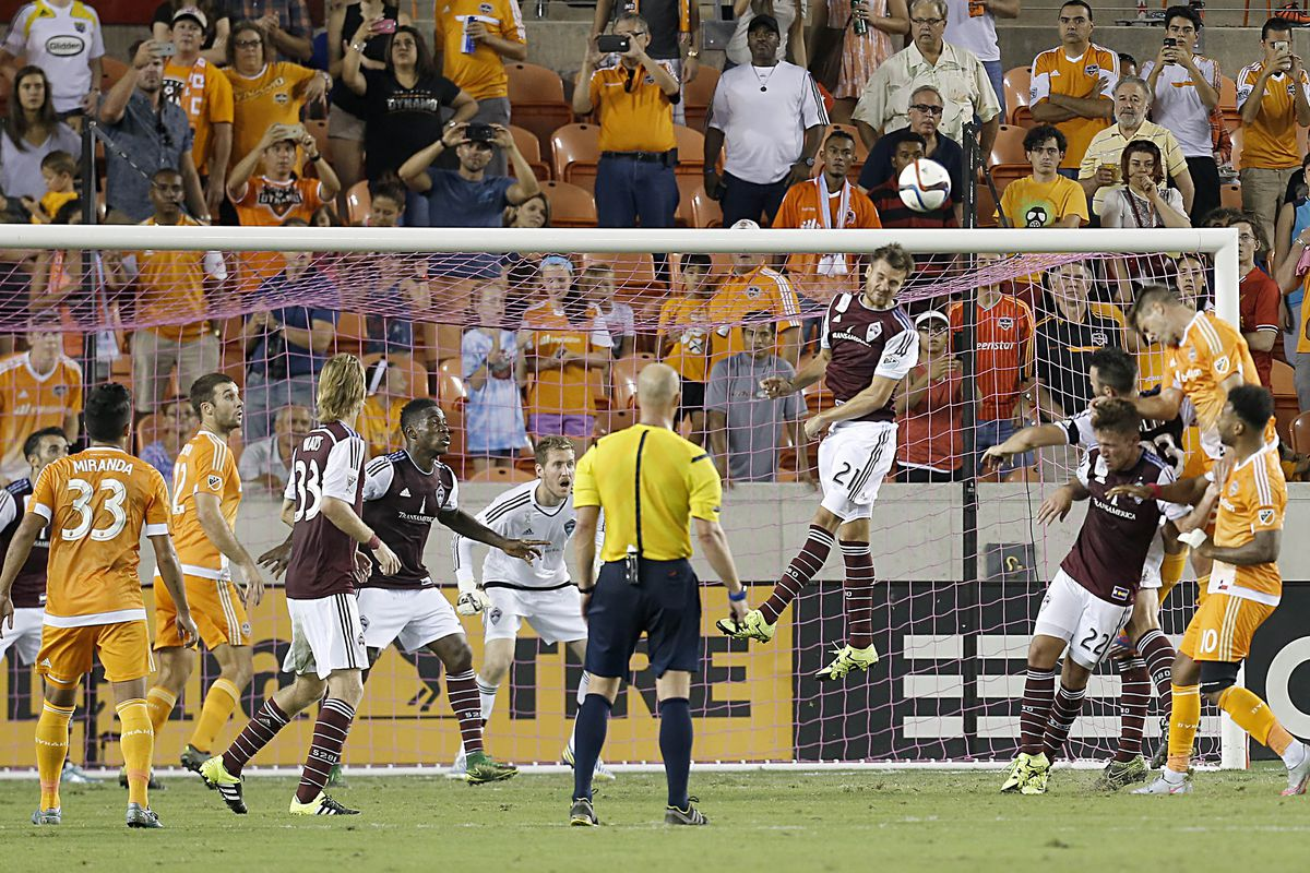 Get that out of here. The ball being cleared by Solignac in the match versus Houston Dynamo.
