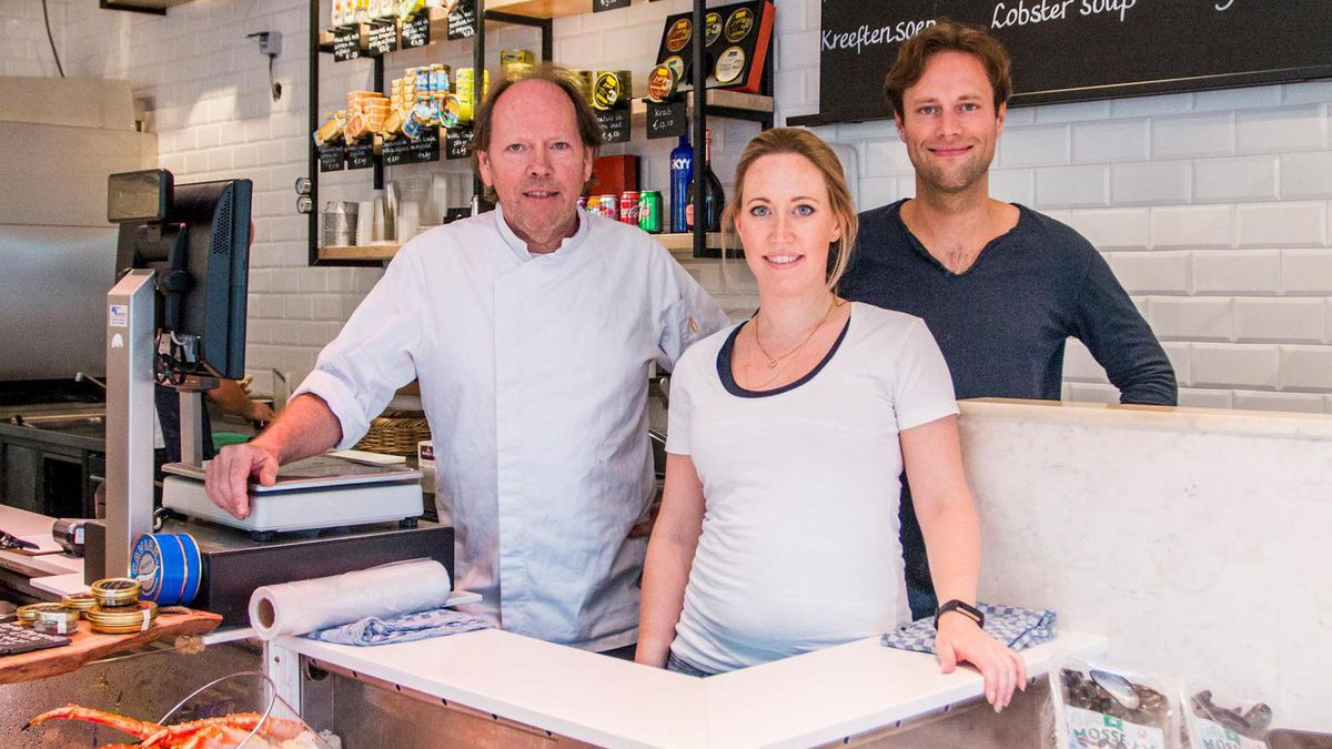 A portrait of Fons de Visscher, and his son and daughter, Pepijn and Fleur, the owners of the Seafood Bar