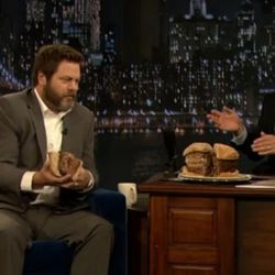 """<a href=""""http://eater.com/archives/2011/05/13/the-ron-swanson-turkey-burger-on-late-night-with-jimmy-fallon.php"""" rel=""""nofollow"""">Nick Offerman Eats the Ron Swanson Turkey Burger</a><br />"""