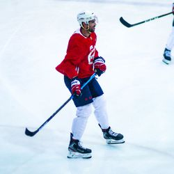 Justin Schultz looks on during Capitals morning skate.
