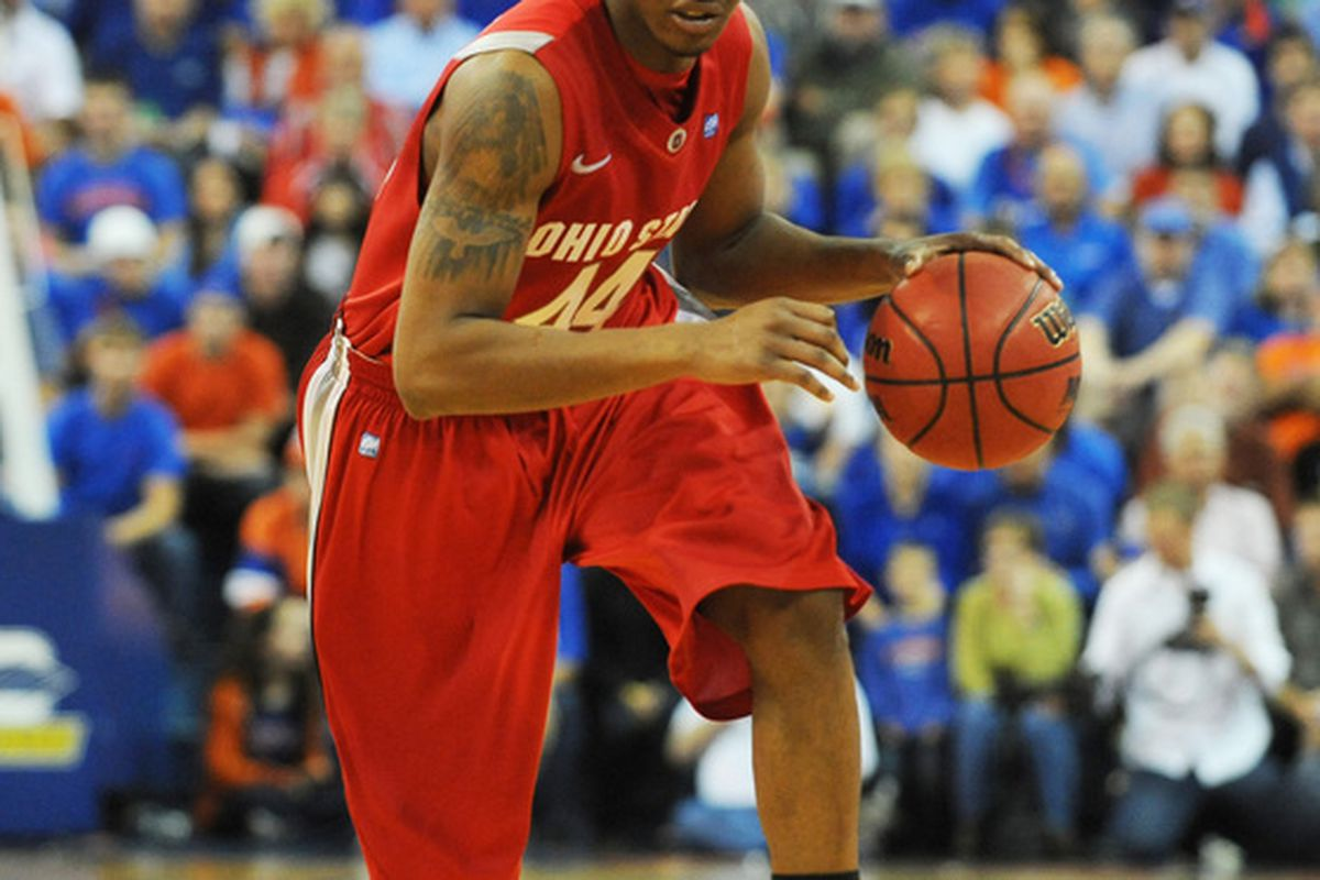 GAINESVILLE FL - NOVEMBER 16: Guard William Buford #44 of the Ohio State Buckeyes drives upcourt against the Florida Gators November 16 2010 at the Stephen C. O'Connell Center in Gainesville Florida.  (Photo by Al Messerschmidt/Getty Images)