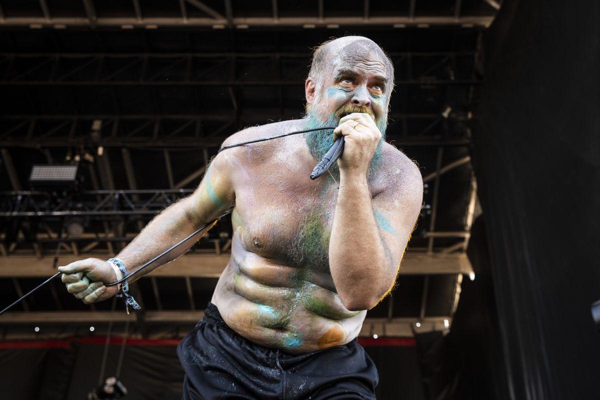 Tim Harrington, of Les Savy Fav, performs on Day 3 of Riot Fest in Douglass Park.