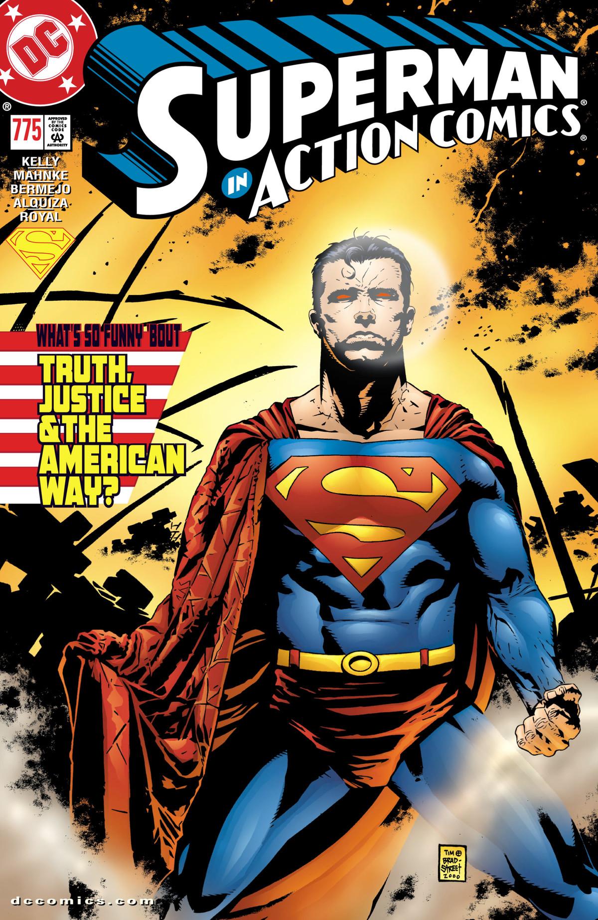 Superman kneels amidst firey destruction on the cover of Action Comics #775, DC Comics (2001).