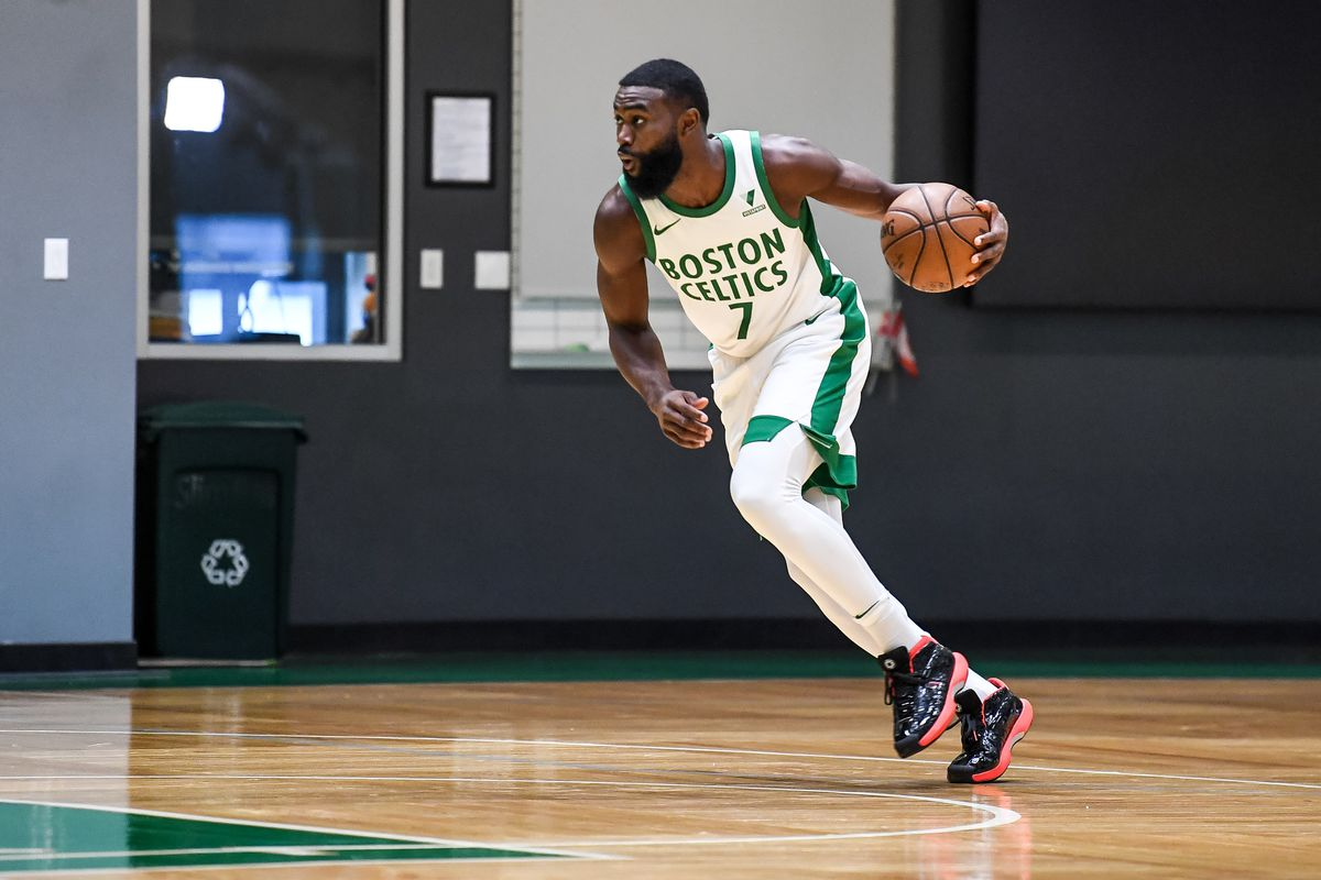 Jaylen Brown #7 of the Boston Celtics unveils the new City Edition uniforms during a workout at the Auerbach Center on November 11, 2020 in Boston, Massachusetts.