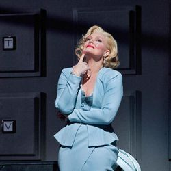 """In this April 18, 2012, photo provided by the Metropolitan Opera, Karita Mattila plays the 337-year-old Emilia Marty in Janacek's """"The Makropulos Case"""" during a rehearsal at the Metropolitan Opera in New York. """"The Makropulos Case"""" returned to the Met on Friday night, April 27, after an 11-year absence."""