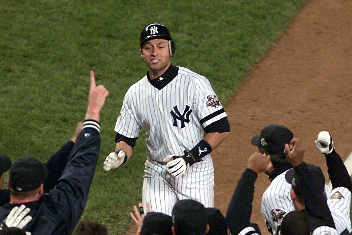 New York Yankees shortstop Derek Jeter is welcomed