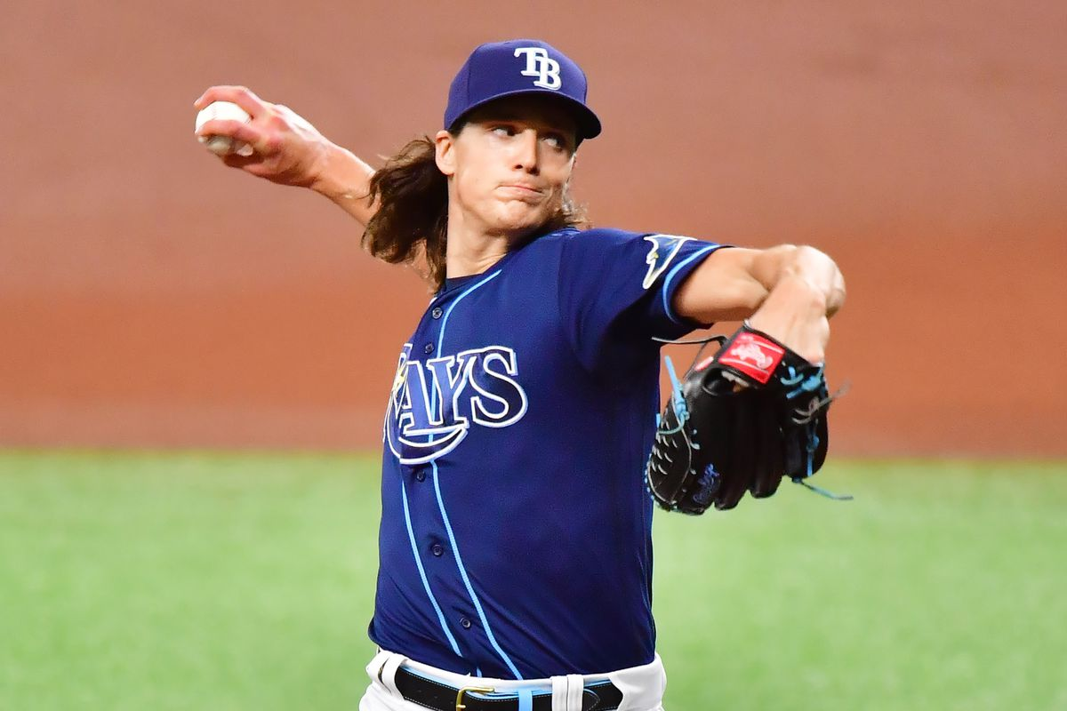 Tyler Glasnow of the Tampa Bay Rays delivers a pitch to the Oakland Athletics in the first inning at Tropicana Field on April 28, 2021 in St Petersburg, Florida.