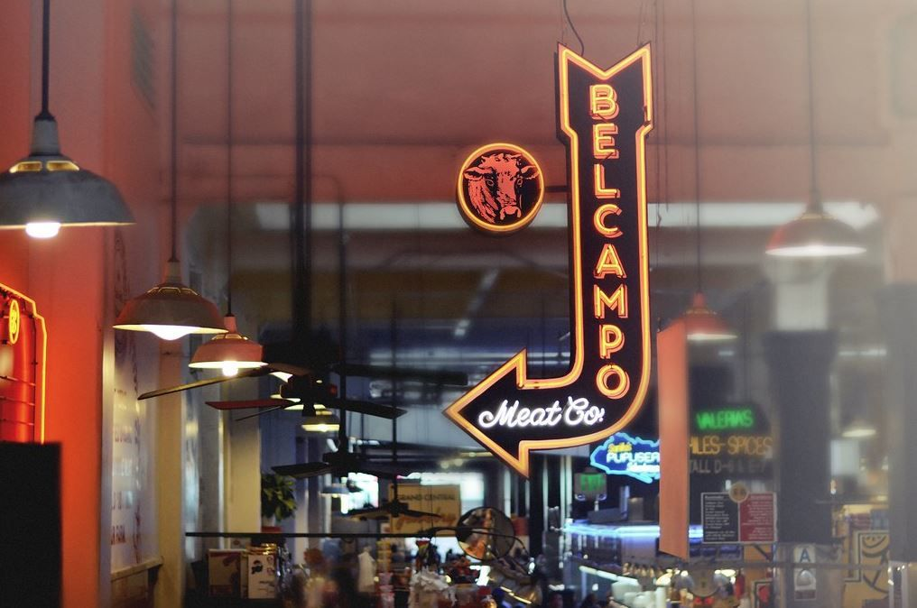 Sign at Belcampo Meat Co. in Grand Central Market in Downtown Los Angeles in 2014.
