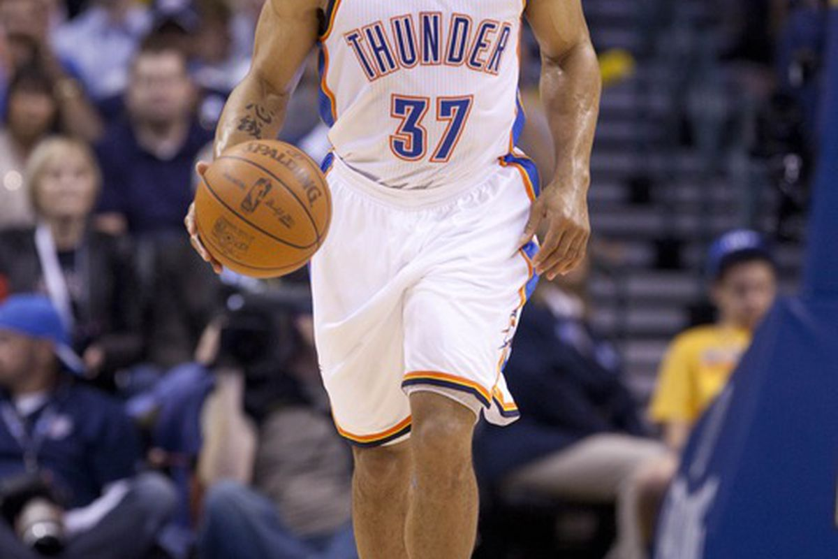 Mar, 21, 2012; Oklahoma City  OK, USA; Oklahoma City Thunder point guard Derek Fisher (37) brings the ball up court during the second quarter against Los Angeles Clippers at Chesapeake Energy Arena Mandatory Credit: Richard Rowe-US PRESSWIRE
