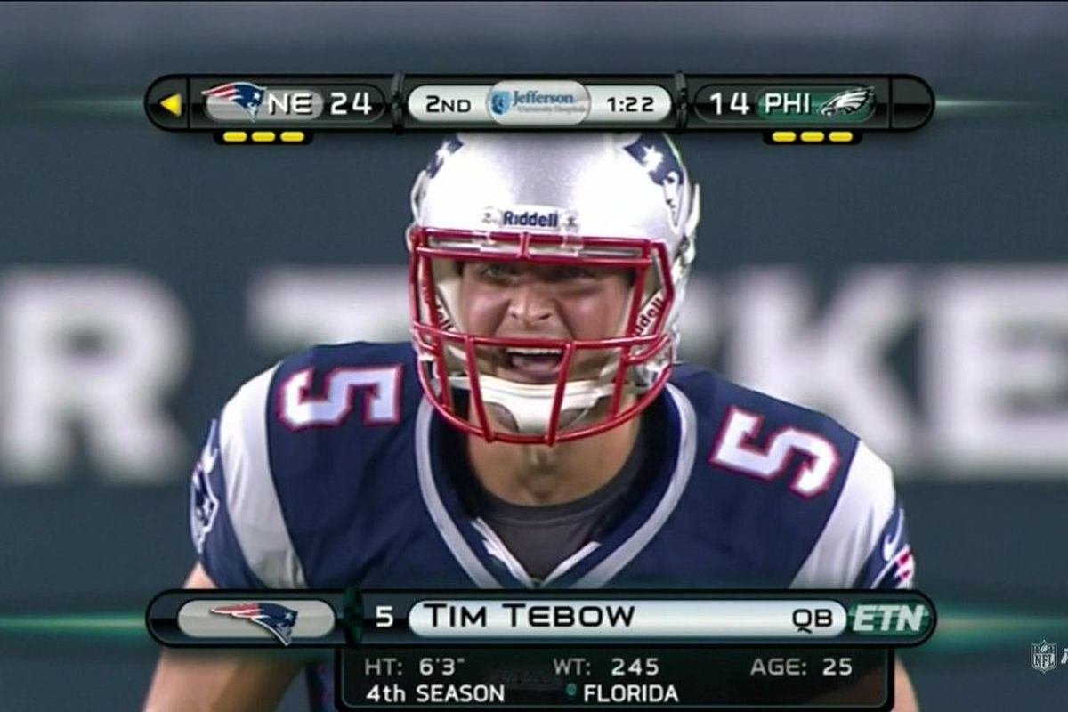 online retailer a8c41 f91e4 Tim Tebow enters Patriots-Eagles game - SBNation.com