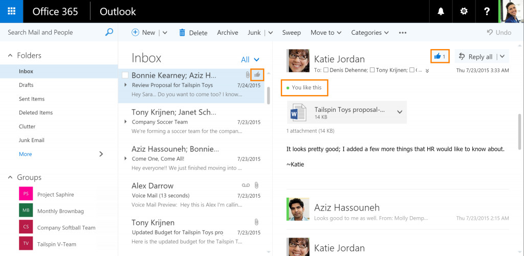 Microsoft is adding mentions and likes to Outlook com - The