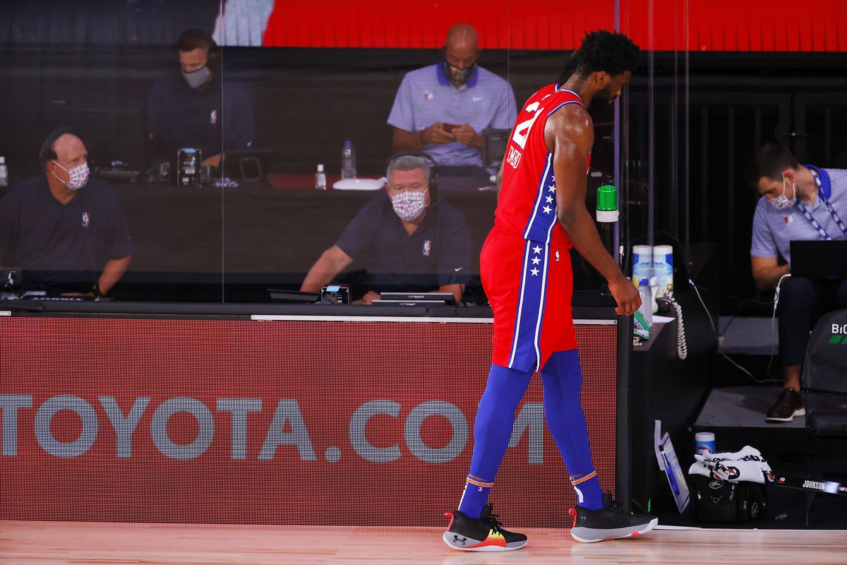 Joel Embiid of the Philadelphia 76ers leaves the game against the Portland Trail Blazers at Visa Athletic Center at ESPN Wide World Of Sports Complex on August 09, 2020 in Lake Buena Vista, Florida.