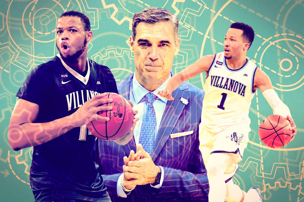 A photo collage of Omari Spellman, Jay Wright, and Jalen Brunson of Villanova's men's basketball team