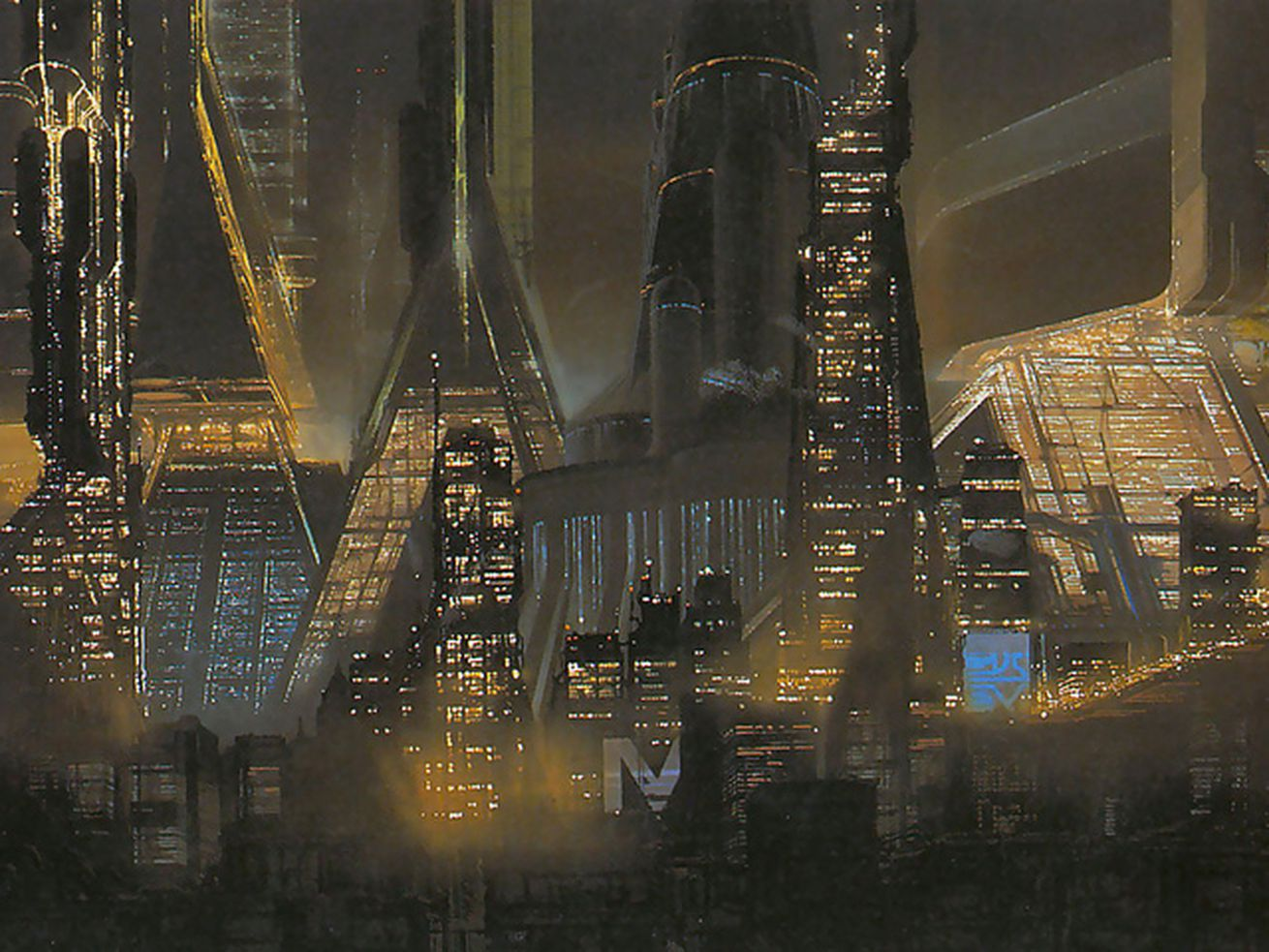 An illustration of a futuristic city with dark, pyramidal buildings.
