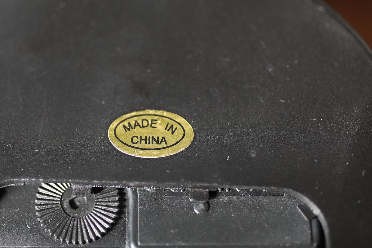 """A """"Made in China"""" sticker on Chinese product."""