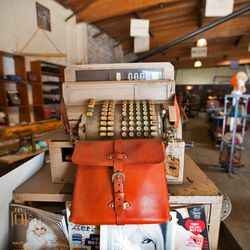 Vintage typewriters, sewing machines and picture frames set the mood of the Sandast showroom.
