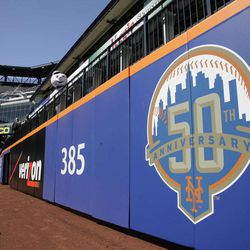 The wall in center field is shown during a tour of Citi Field Tuesday, April 3, 2012, in New York. In addition to slicing payroll, the New York Mets cut dimensions at Citi Field and showed off their new blue-and-orange fences. The Mets erected a new fence in front of the old wall at the 4-year-old ballpark, lowering the height needed for a home run to 8 feet from as much as 16 and cutting the distance from home plate by up to 12 feet.
