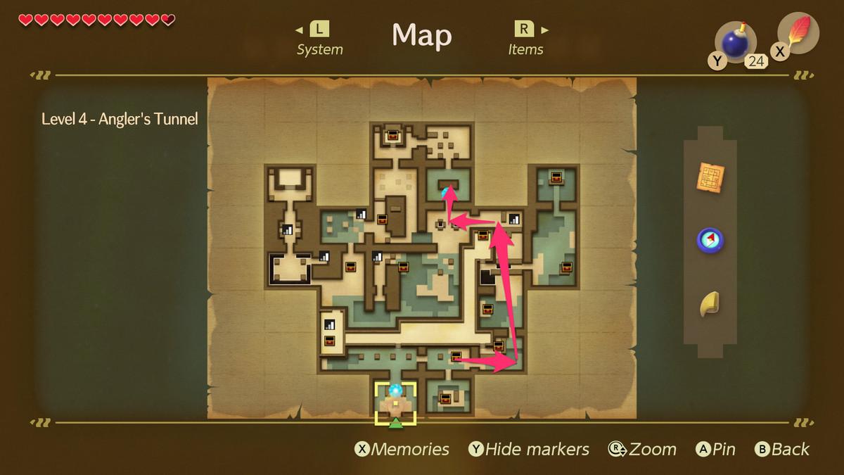Link's Awakening Angler's Tunnelpath to the Cue Ball mini-boss fight