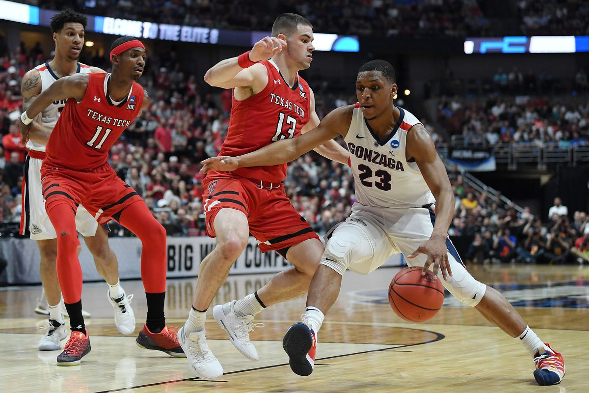 Zach Norvell Jr. of the Gonzaga Bulldogs drives against Matt Mooney of Texas Tech during the first half of the 2019 NCAA Men's Basketball Tournament. Getty Images.