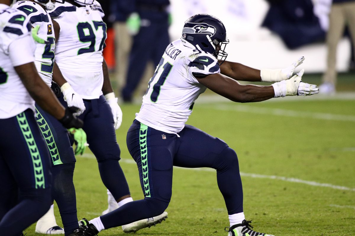 Seattle Seahawks Defensive End L.J. Collier (91) celebrates a sack in the second half during the game between the Seattle Seahawks and Philadelphia Eagles on November 30, 2020 at Lincoln Financial Field in Philadelphia, PA.