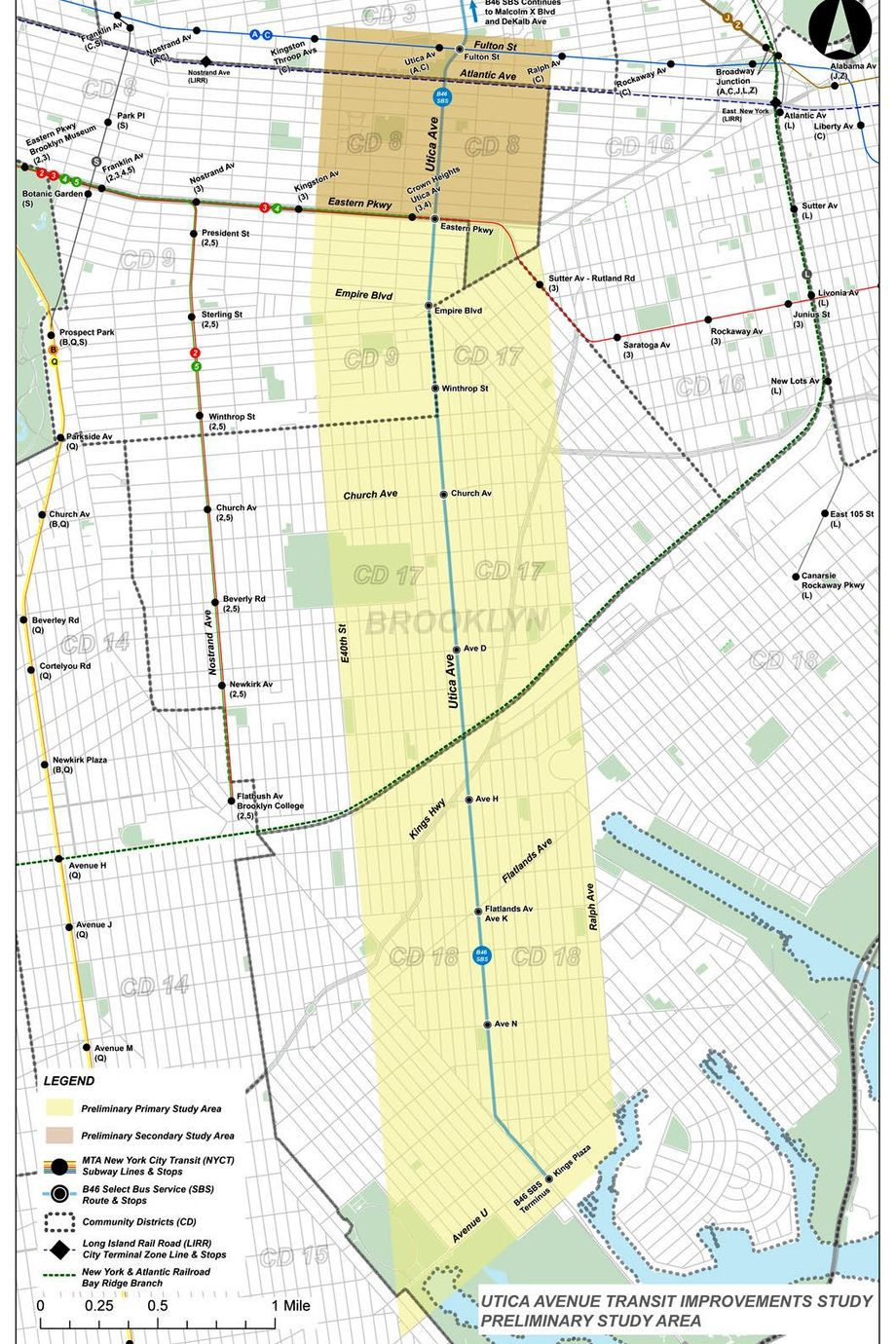 The primary study area is bounded by Eastern Parkway to the north, Ralph Avenue to the east, Avenue V to the south and East 40th Street to the west. The secondary study area extends the study boundaries north to Fulton St.