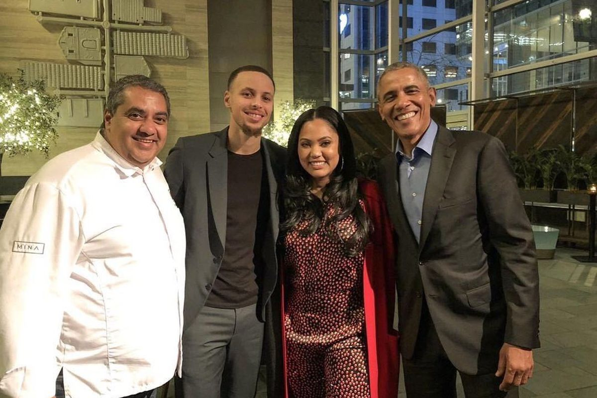 6d0dab886224 Barack Obama Dined at Ayesha Curry s SF Restaurant on Presidents  Day.  Chrissy Teigen and Steph Curry were ...