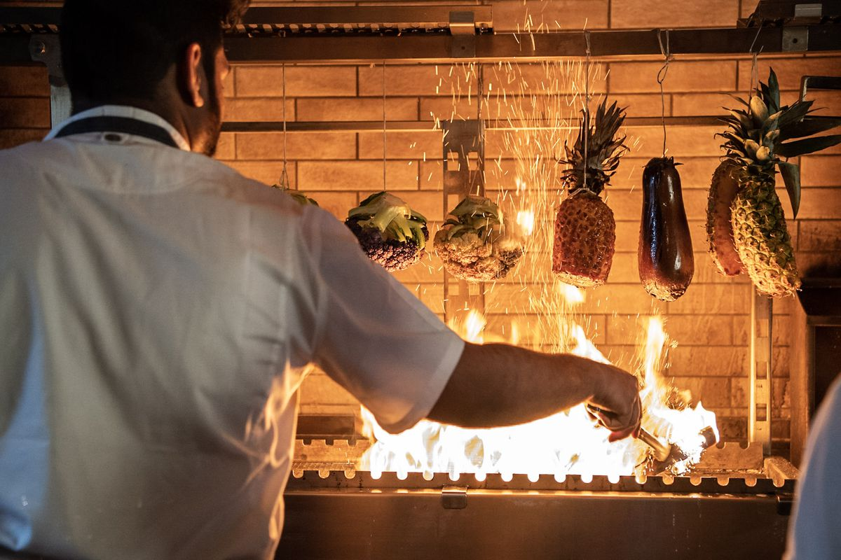 The grill at Rooh Palo Alto