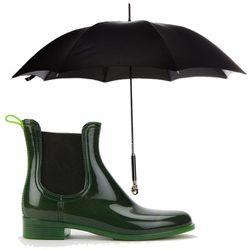 "<b>Jeffrey Campbell</b> Forecast Rain Boot, <a href=""http://www.urbanoutfitters.com/urban/catalog/productdetail.jsp?id=26465054&parentid=SEARCH+RESULTS"">$70</a> + <b>Dolce & Gabanna</b> Skull Handle Umbrella, <a href=""http://www.barneys.com/Dolce-Gabbana-"