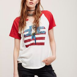 You gotta love a good Bruce Springsteen T-shirt. This one has red sleeves and a raw v-neckline.
