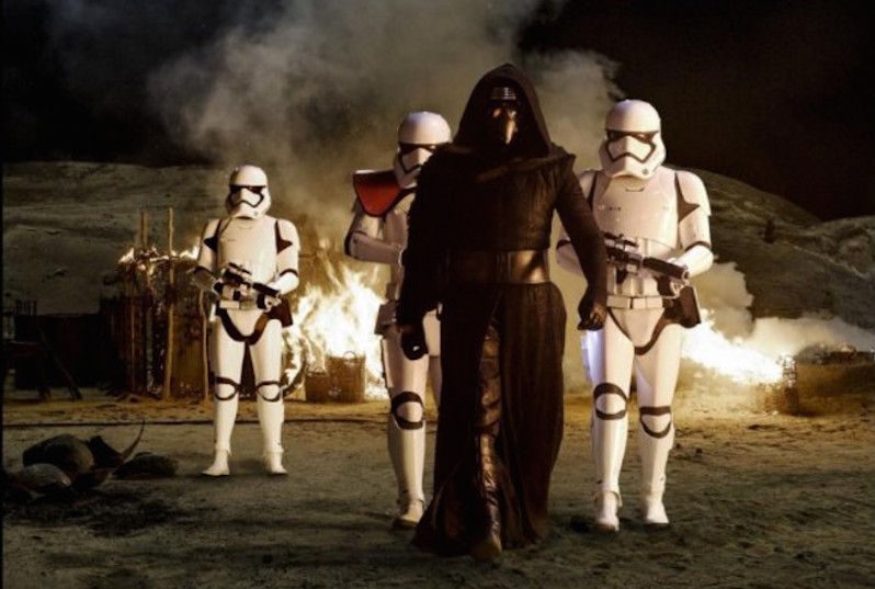 Kylo Ren and some Stormtroopers.