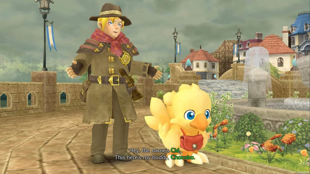 Cid introduces himself and Chocobo in Chocobo Mystery Dungeon Every Buddy!