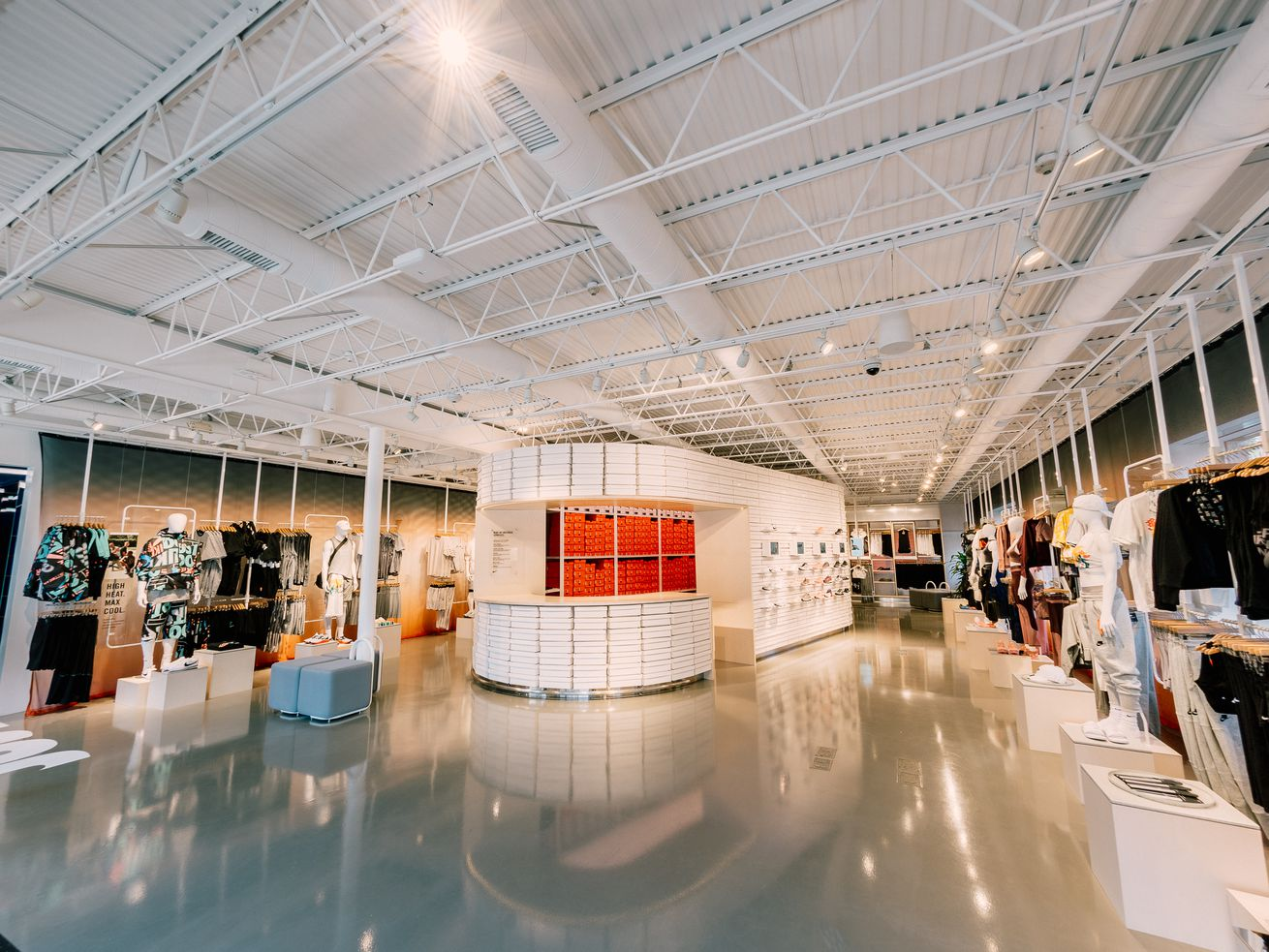 The inside of Nike's new live concept store, Nike by Melrose.