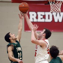 Stevenson's Ethan Kolesky (22) and Benet Academy's Colin Crothers (55) go after the rebound in Lisle, Saturday, February 16, 2019.   Kevin Tanaka/For the Sun Times