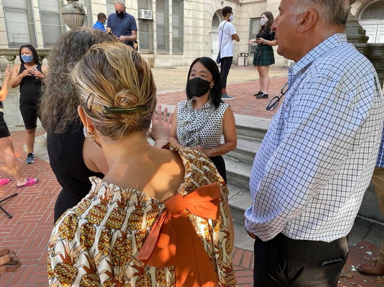 Councilwoman Helem Gym talks to parents at Masterman High School.
