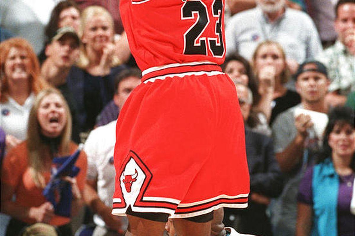 Micheal Jordan sinks his game-winning jumper during Game 6 in 1998.