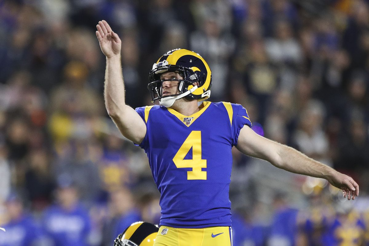 Kicker Greg Zuerlein of the Los Angeles Rams makes the extra point in the second quarter to lead 14-3 over the Seattle Seahawks at Los Angeles Memorial Coliseum on December 08, 2019 in Los Angeles, California.