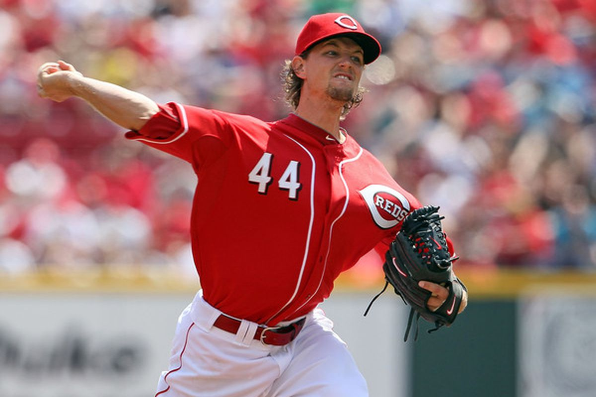 CINCINNATI - APRIL 11:  Mike Leake #44 of the Cincinnati Reds throws a pitch during the game against the Chicago Cubs on April 11, 2010 at Great American Ball Park in Cincinnati, Ohio.  (Photo by Andy Lyons/Getty Images)