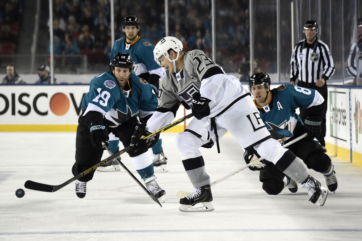 The Sharks can only look on and do nothing to stop the awesome leadership powers of Dustin Brown