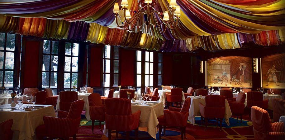 Restaurant interior with draped cloth