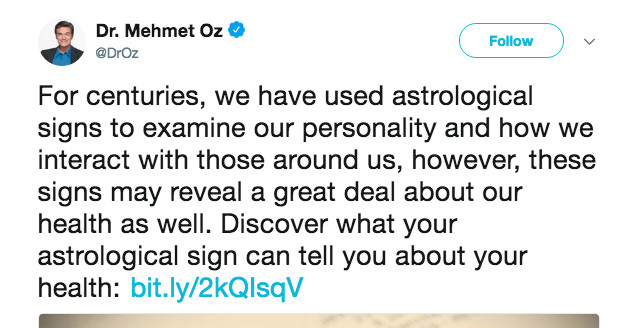 Why Dr. Oz's astrology tweet was so disappointing
