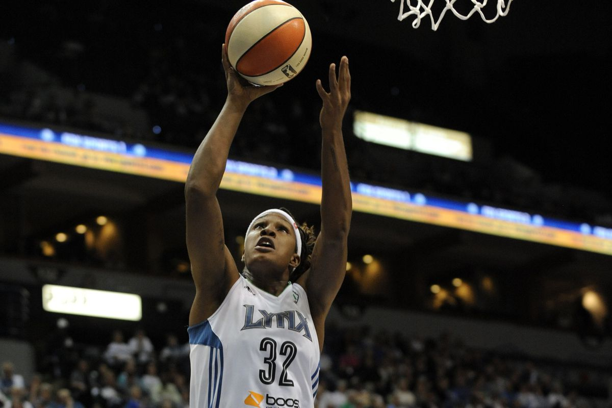 Rebekkah Brunson scores against the Storm in game one on Friday night