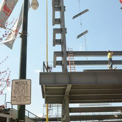 1:56 p.m. The right-field board almost lines up with the foul pole -