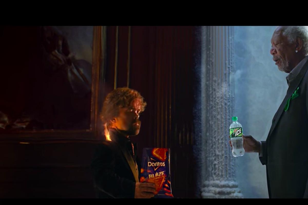 Morgan Freeman blowing cold air at Peter Dinklage.