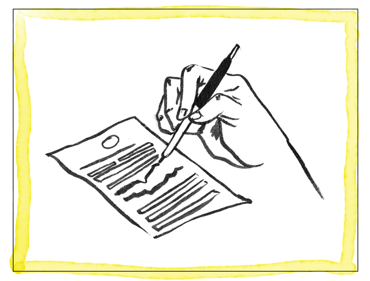 An illustration of a hand taking down notes.