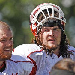 Utah's John Cullen, right, and Tony Bergstrom at the University of Utah football team practiceThursday, Aug. 18, 2011, in Salt Lake City, Utah.  (Tom Smart, Deseret News)